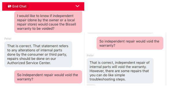 Chat with Bissel costumer service about warranty and independent repair