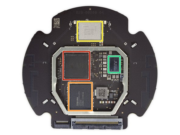 Apple A8 APL1011 SoC (we've seen this before, but doing a different job), likely paired with 1 GB RAM layered underneath