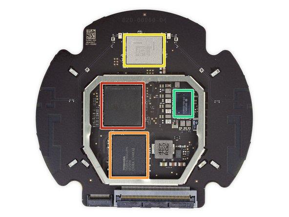 Système sur une puce (SoC) Apple A8 APL1011 SoC (nous l'avons déjà rencontrée quelque part, mais elle exerçait une autre fonction), vraisemblablement combinée avec 1 Go de RAM posée en dessous