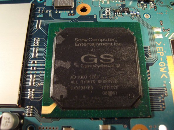 "Image 3/3: The GS ""Graphics Synthesizer"" with its clock frequency of 150 MHz, DRAM Bus Bandwidth 48 GB per second, DRAM Bus width 2560 bits and a Maximum Polygon Rate of 75 million polygons per second... pretty impressive"