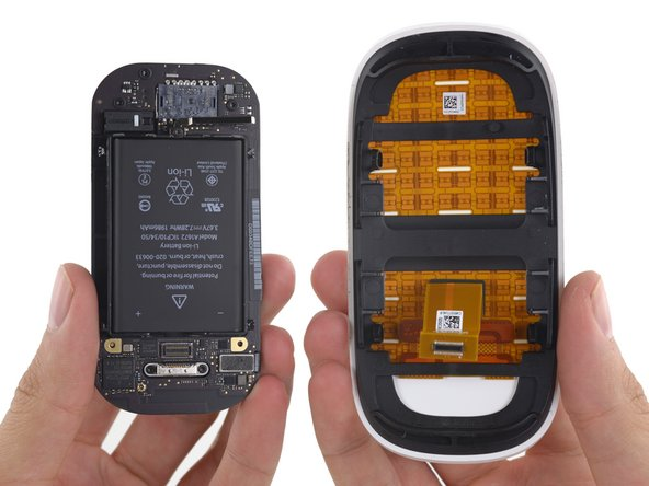 Finally separated from the base of the mouse, the upper casing provides a clearer view of its capacitative touch-sensing array.
