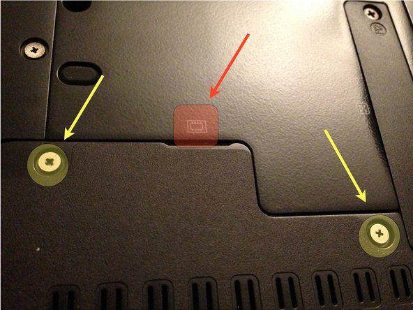 Using the small Phillips head screwdriver, unscrew the screws highlighted in yellow. Remove the panel by lifting from the red indicated area.