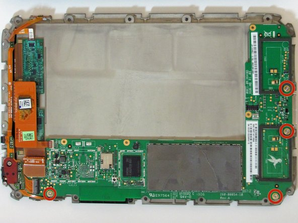 Use the T5 torx screwdriver to remove the four 2.5 millimeter screws that attach the motherboard to the back plate.
