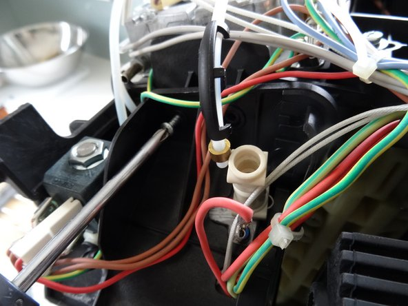 The boiler and valve are fixed with three screws. Also loosen some cables and hoses until the boiler can be removed.