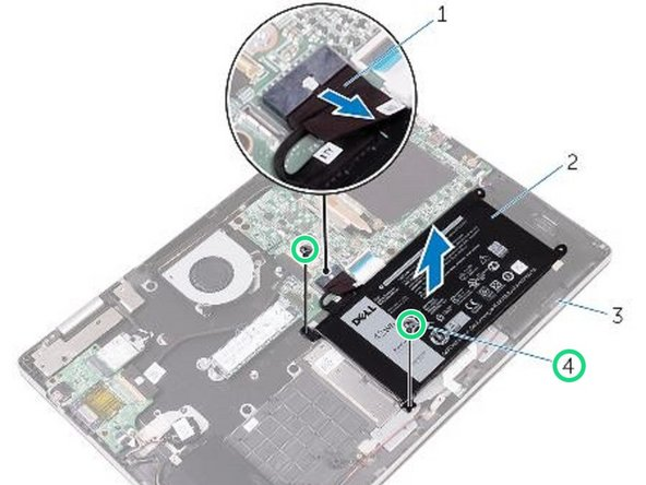 Replace the screws that secure the battery to the palm-rest assembly.