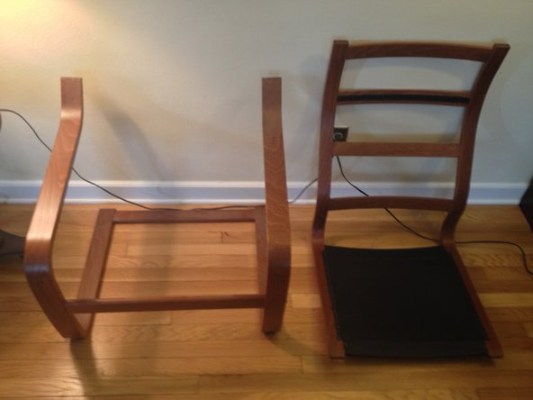 Separate the back and seat of the chair from the legs and the armrest.