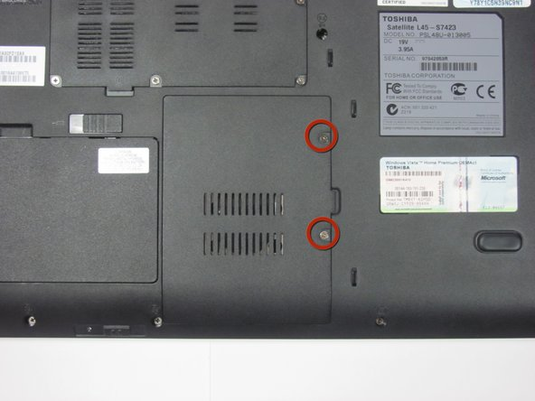 Remove the two screws holding the hard drive panel down.