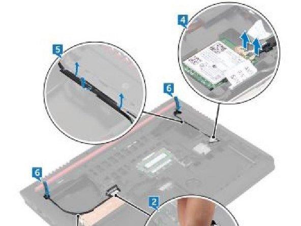 Observe el enrutamiento del cable de la pantalla y retire el cable de las guías de enrutamiento en la base de la computadora.
