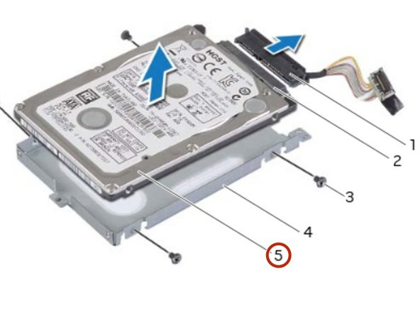 Slide and lift the primary hard-drive off the primary hard-drive bracket.