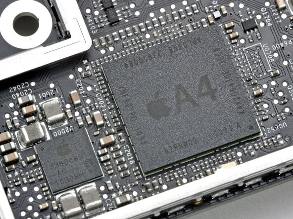 Image 1/2: The key marking of interest on the A4 processor package is '''K4X2G643GE'''. This is identical to the marking found on the [guide|2183|iPad|stepid=11198] and 4th Generation iPod Touch, but different from the [guide|3130|iPhone 4 processor|stepid=15343].