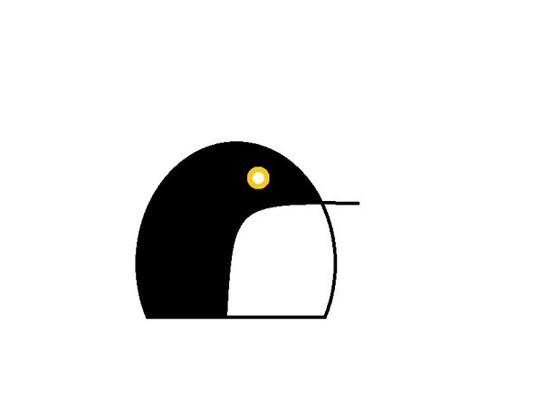As a finishing touch, choose the Brush tool with the thicker texture and add it to the center of the penguin's eye.