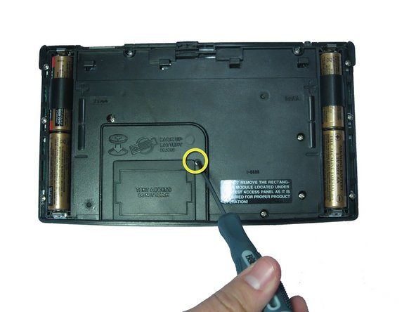 Before removing the backup battery make sure your AA batteries are installed so that there is no loss of information.