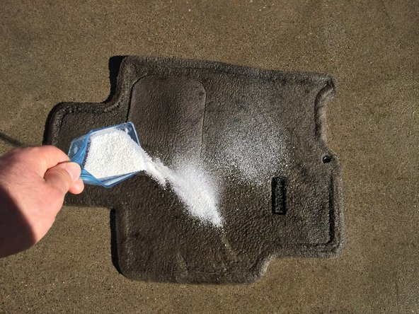 Spread your favorite granule-based, eco-friendly laundry detergent onto the entire area of the floor mat.