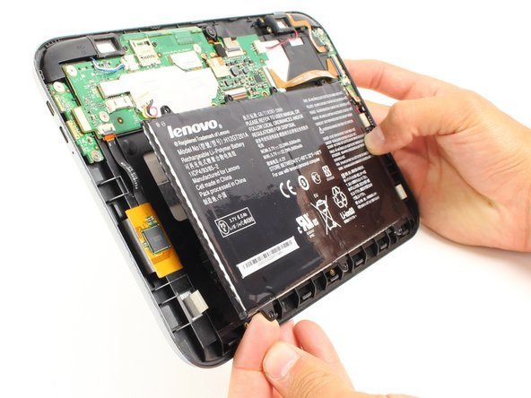 Now you can take the battery out in order to either replace it or continue disassembling the device.
