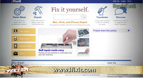 iFixit site featured on Tekzilla