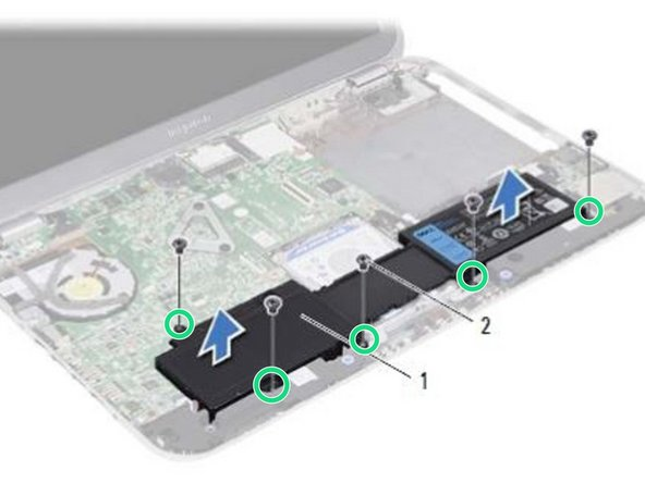 Align the screw holes on the NEW battery with the screw holes on the computer base and press down on the battery connector.