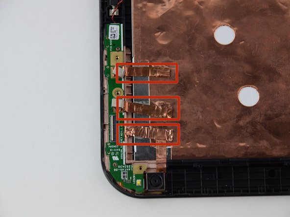 Pull copper tape away from the back, keeping it connected to the green rear camera board.