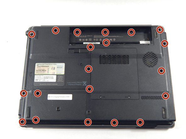 Turn the laptop over so that you see the bottom.