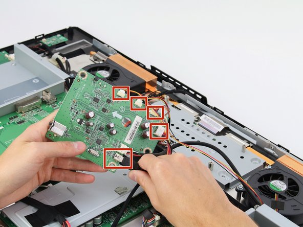 Remove the five cables connected to the USB board by pinching near the connector and pulling the cables straight out.
