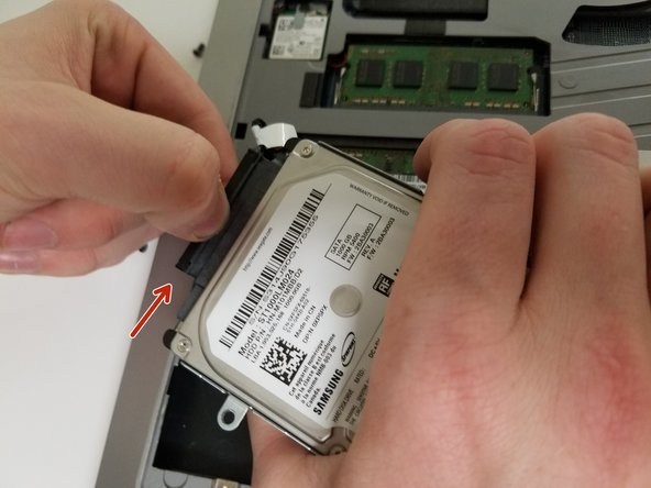 After lifting the Hard Drive, unplug the Hard Drive connector.