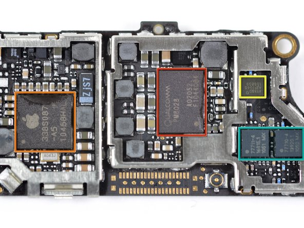 Image 1/2: The Qualcomm PM8028 chip works in conjunction with the Qualcomm MDM6600 to provide wireless data connection to the phone.