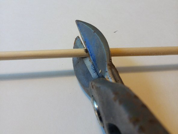 After you have made your 6 inch mark, use a pair of wood snips to cut the dowel cleanly at 6 inches.