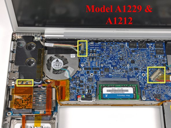 For A1229 and A1212 models, disconnect the three antenna cables from the AirPort Extreme card and the three connectors highlighted on the logic board.