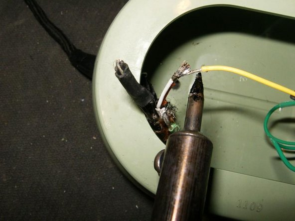 Image 3/3: unsolder that connection (or cut with pair of pliers if unable the heatshrink tubing)