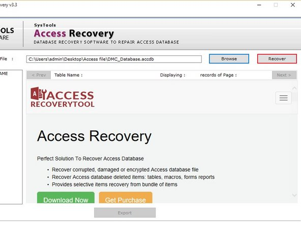 Browse corrupt file and Click on recover Button to repair within ACCDB Recovery Tool