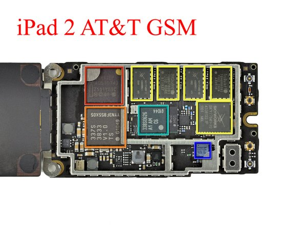 Image 1/1: Big players on the GSM iPad 2 3G board include: