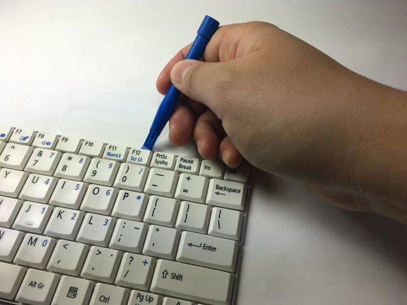 Using the Blue Plastic Opening Tool, remove the white plastic piece of your desired key.