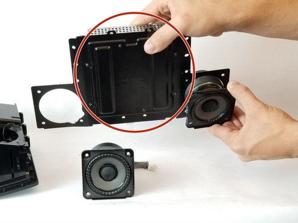 The amplifier comes as one piece. Once the speakers are removed, the part is ready to be replaced.