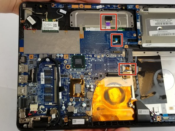 Once the all screws have been removed, you can start removing connections from the motherboard. Begin with the highlighted connections.