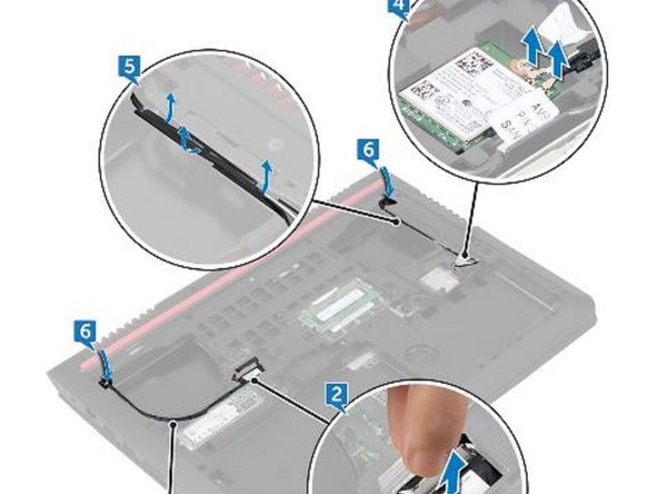 Disconnect the antenna cables from the wireless card.