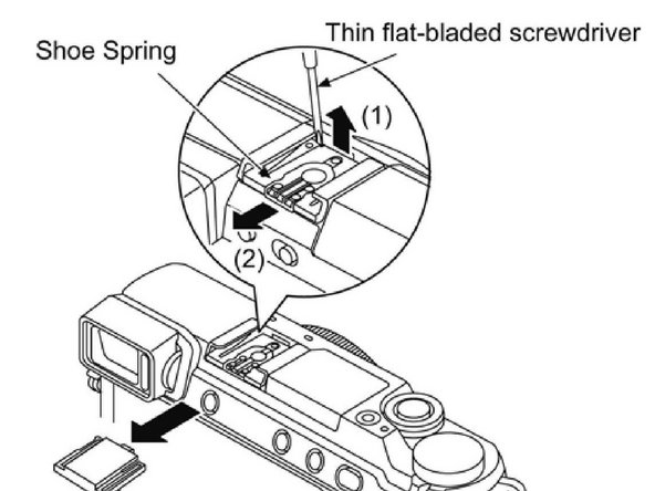 remove the flash spring as shown and the four screws
