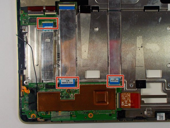 Unplug all three ribbon cables from motherboard.