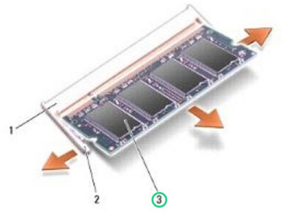 Slide the NEW module firmly into the slot at a 45-degree angle, and rotate the module down until it clicks into place. If the module does not click into place,  remove the module and reinstall it.