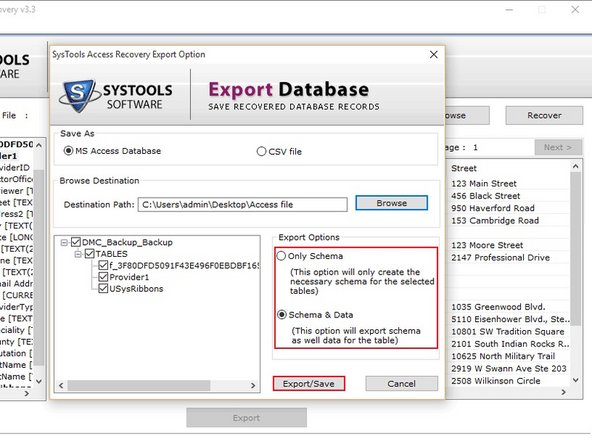 Export Recover data directly to MS Access Database. This Tool also has option to save data with schema or save only schema