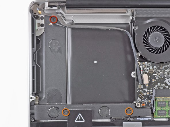 Image 1/1: Remove the following three screws securing the subwoofer & right speaker to the upper case: