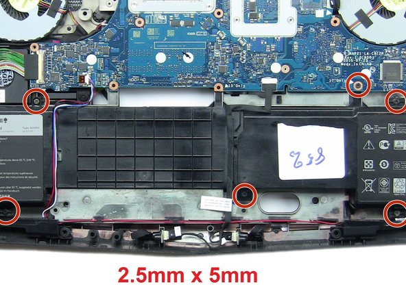 Remove the six 2.5mm x 5mm screws that connect the battery to the laptop