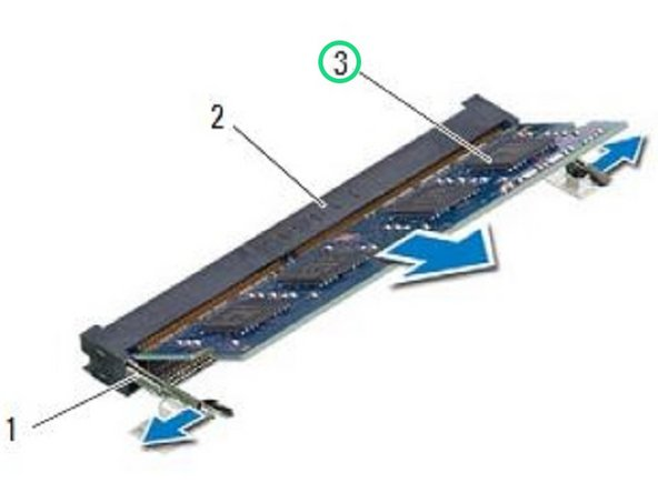 Slide the memory module firmly into the connector at a 45-degree angle and press the memory module down until it clicks into place.