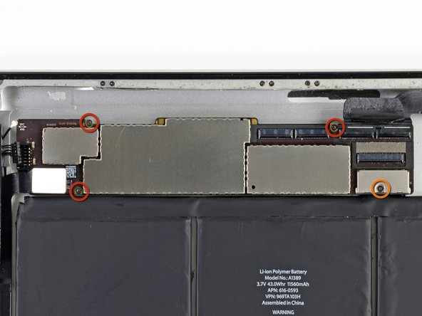 Image 1/1: Remove the following four screws securing the logic board to the rear aluminum panel: