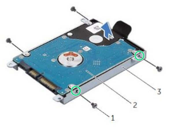 Align the screw holes on the hard drive-bracket with the screw holes on the NEW hard drive.