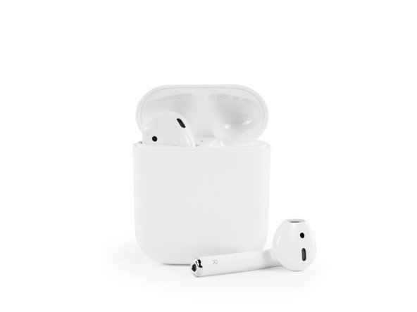 "Image 2/2: Each AirPod measures in at  0.65"" × 0.71"" × 1.59"" (16.5 mm × 18.0 mm × 40.5 mm) while the charging case measures in at 1.74"" × 0.84"" × 2.11"" (44.3 mm × 21.3 mm × 53.5 mm)"