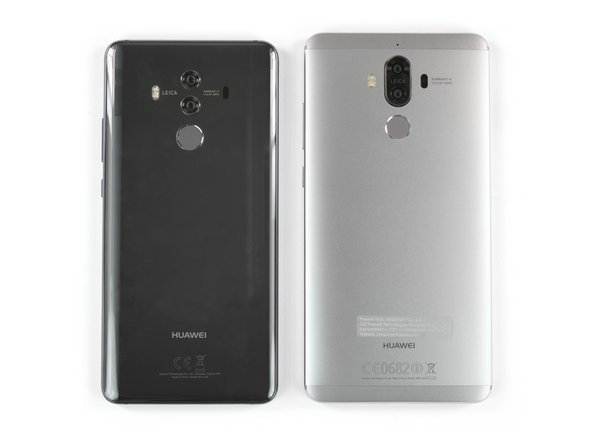 Before we start to deconstruct the Mate 10 Pro, we line it up next to one of its predecessors, the Mate 9—which we also tore down—for a quick comparison.