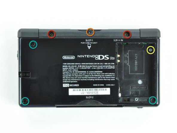Remove the following screws securing the lower case to the body of the DS Lite: