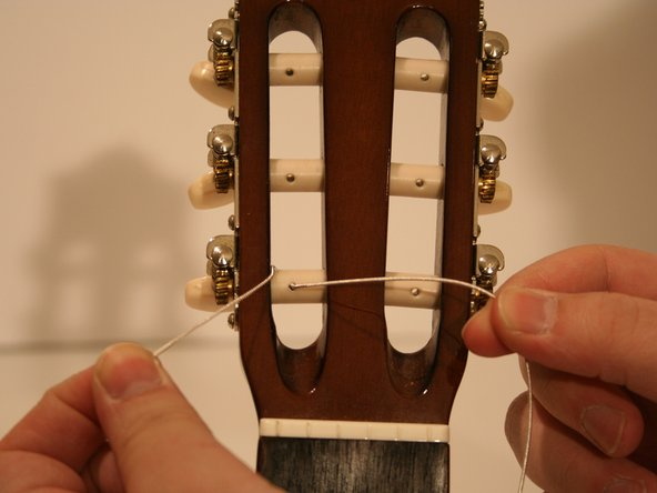 This knot will be used for  only the low E, G, and B strings.