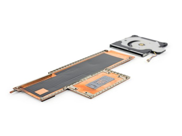 The cooling system in the Surface Book bears a passing resemblance to the large copper plate tucked against the battery of the Surface Pro 4, but covers silicon instead of Li-ion.