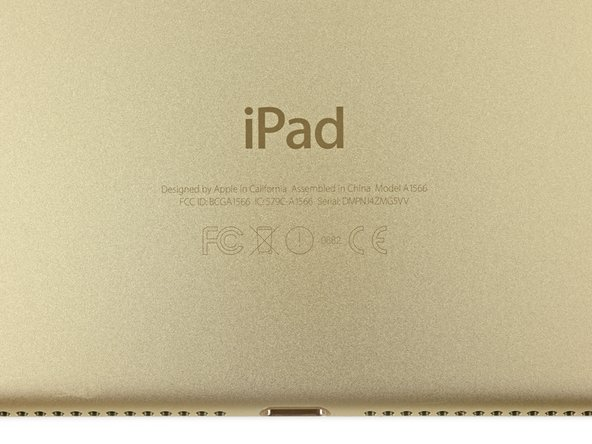 The iPad Air 2 marks the beginning of a new model number pattern, A15XX. In this case, the iPad Air 2 Wi-Fi bears the model number A1566.
