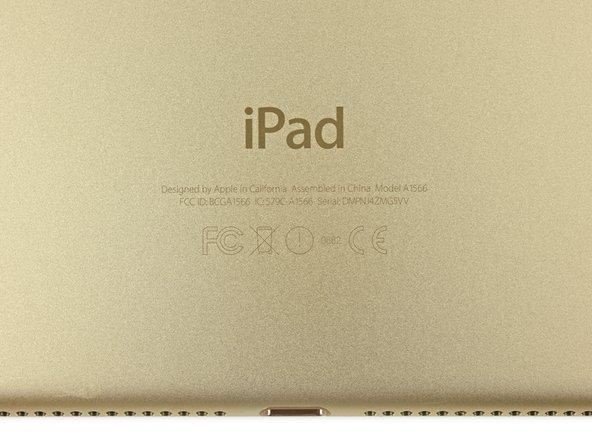 L'iPad Air 2 marque le début d'un nouveau modèle de numéro de modèle, A15XX. Dans ce cas, l'iPad Air 2 Wi-Fi porte le numéro de modèle A1566.